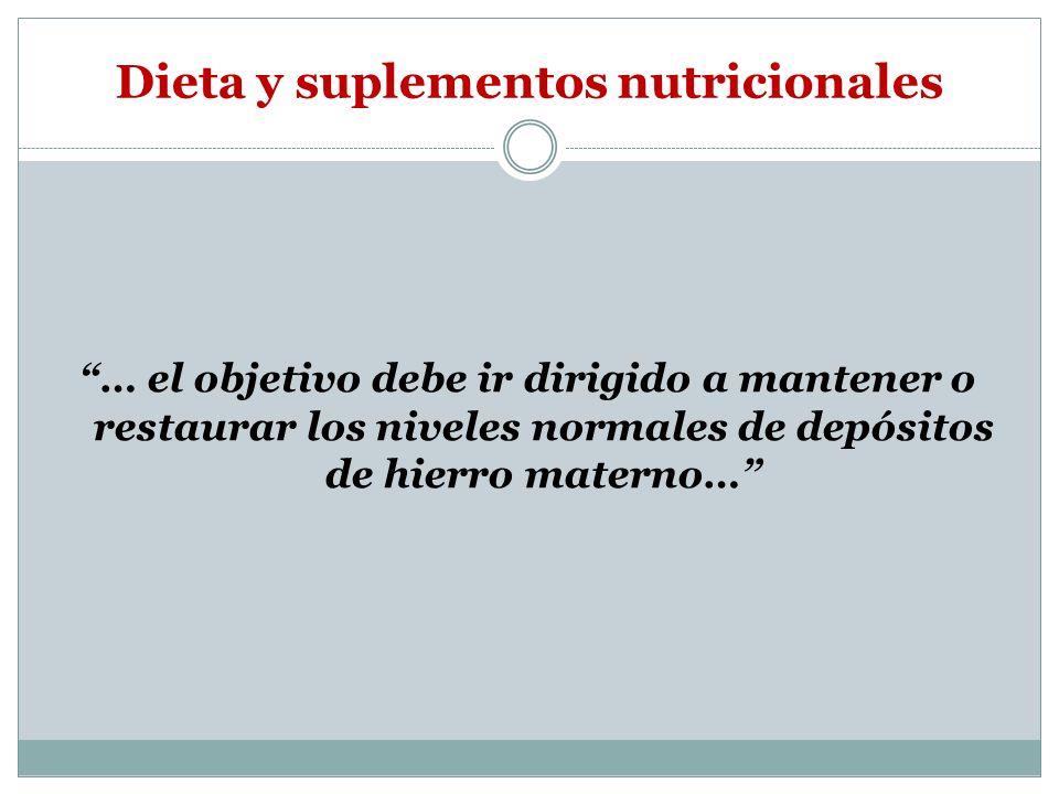 Dieta y suplementos nutricionales … el objetivo debe ir dirigido a mantener o restaurar los niveles normales de depósitos de hierro materno…