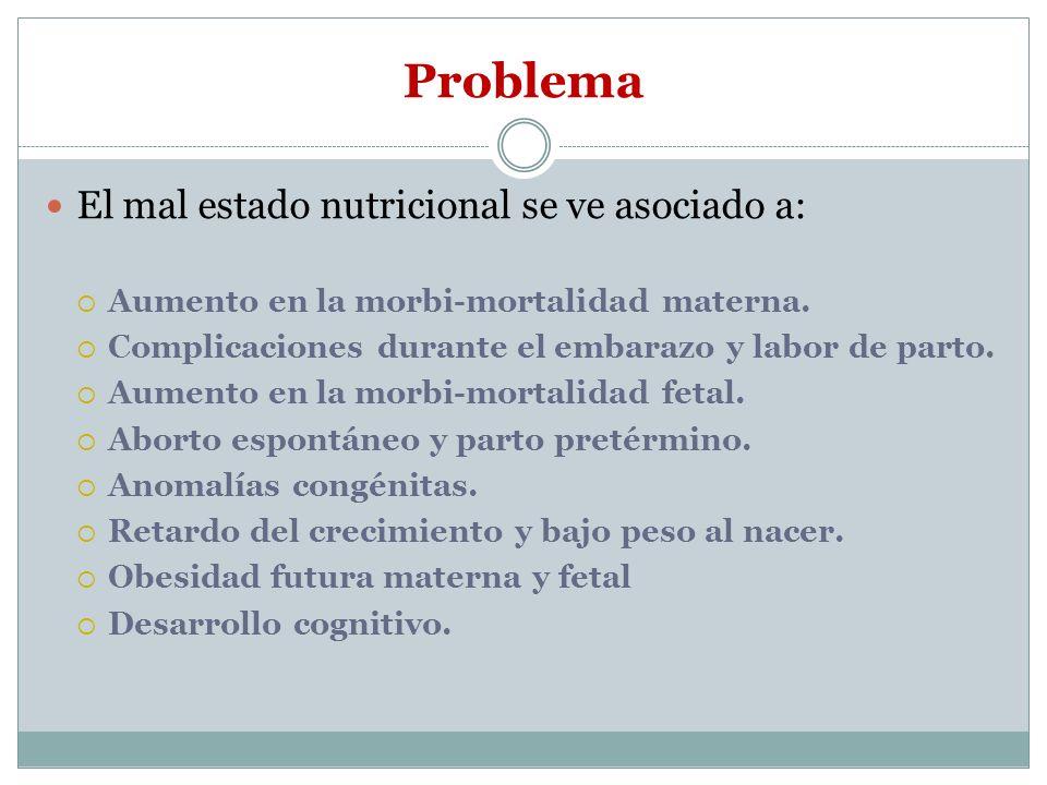 Problema El mal estado nutricional se ve asociado a: Aumento en la morbi-mortalidad materna. Complicaciones durante el embarazo y labor de parto. Aume