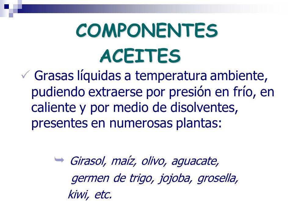 ACEITES Grasas líquidas a temperatura ambiente, pudiendo extraerse por presión en frío, en caliente y por medio de disolventes, presentes en numerosas