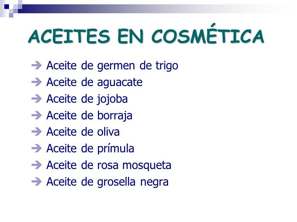 ACEITES EN COSMÉTICA Aceite de germen de trigo Aceite de aguacate Aceite de jojoba Aceite de borraja Aceite de oliva Aceite de prímula Aceite de rosa