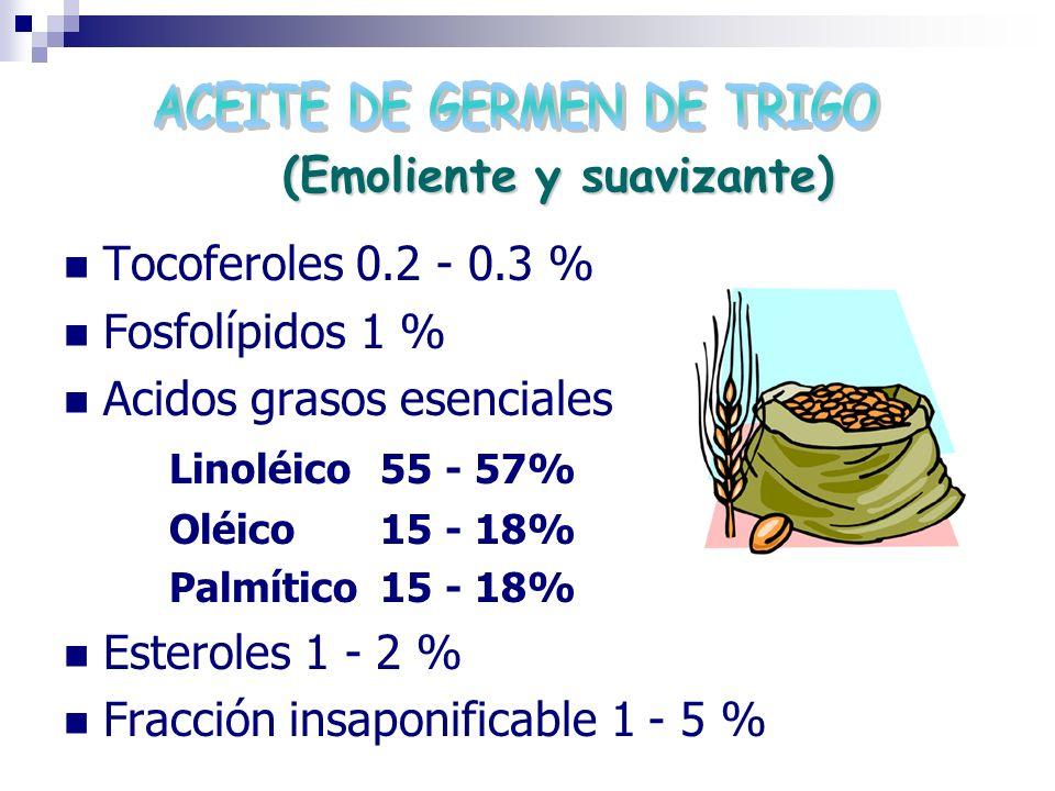 (Emoliente y suavizante) Tocoferoles 0.2 - 0.3 % Fosfolípidos 1 % Acidos grasos esenciales Linoléico55 - 57% Oléico15 - 18% Palmítico15 - 18% Esterole