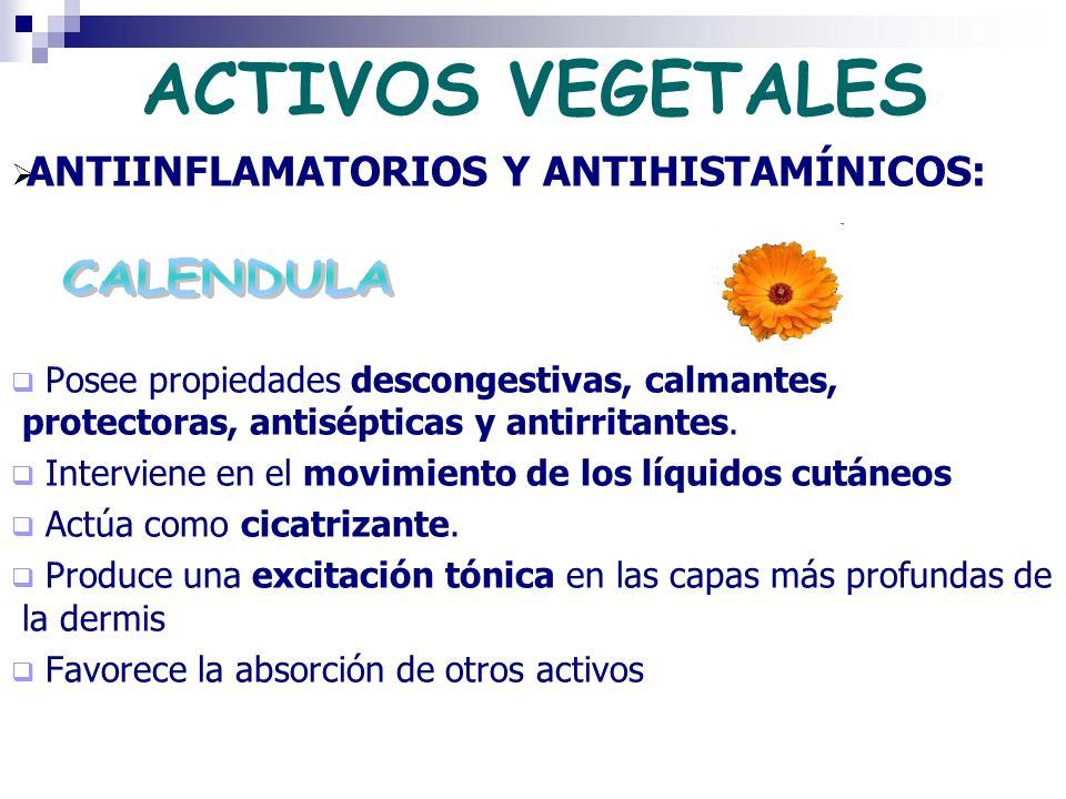 ACTIVOS VEGETALES ANTIINFLAMATORIOS Y ANTIHISTAMÍNICOS: Posee propiedades descongestivas, calmantes, protectoras, antisépticas y antirritantes. Interv