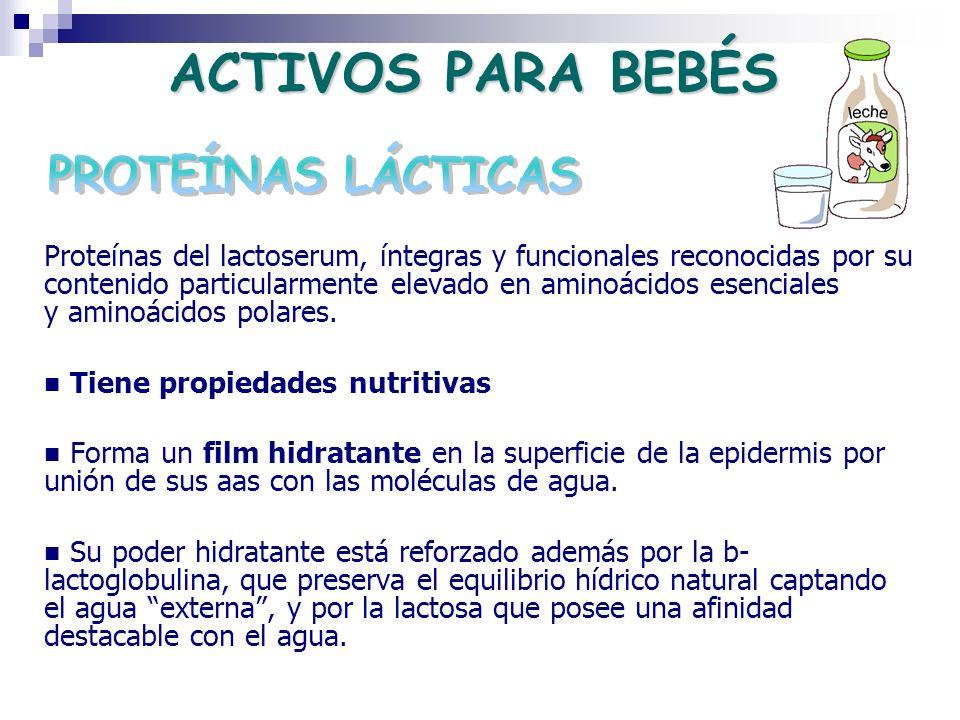 Proteínas del lactoserum, íntegras y funcionales reconocidas por su contenido particularmente elevado en aminoácidos esenciales y aminoácidos polares.