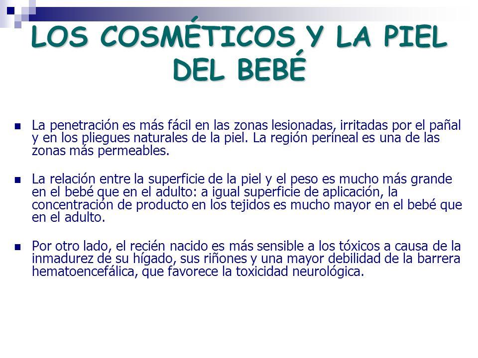 LOS COSMÉTICOS Y LA PIEL DEL BEBÉ La penetración es más fácil en las zonas lesionadas, irritadas por el pañal y en los pliegues naturales de la piel.