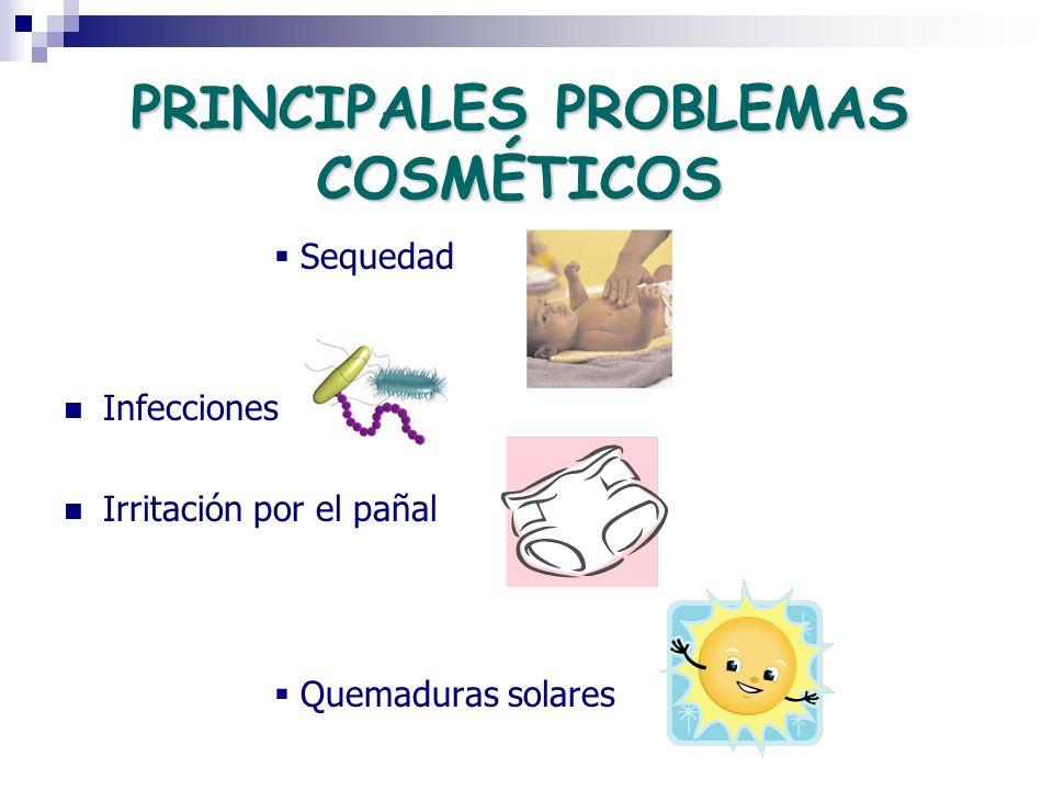 PRINCIPALES PROBLEMAS COSMÉTICOS Sequedad Infecciones Irritación por el pañal Quemaduras solares