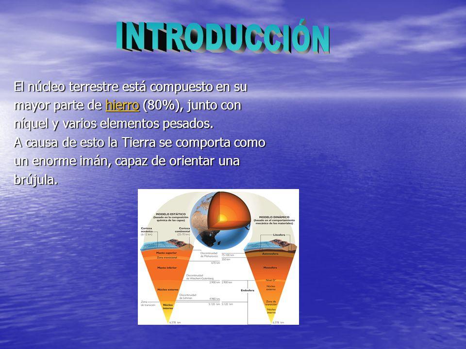 El núcleo terrestre está compuesto en su mayor parte de hierro (80%), junto con hierro níquel y varios elementos pesados. A causa de esto la Tierra se