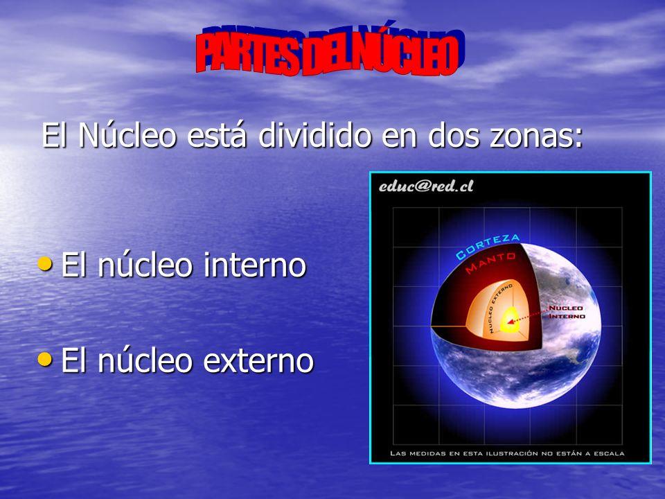 El núcleo interno se encuentra en estado sólido y sus principales características son: Composición: hierro y níquel Composición: hierro y níquel Temperatura: aproximadamente 5 000 ºC Temperatura: aproximadamente 5 000 ºC Grosor: entre 6 371 y 5 100 Km Grosor: entre 6 371 y 5 100 Km Radio: 1 220 Km Radio: 1 220 Km Densidad: 13 g/cm 3 Densidad: 13 g/cm 3