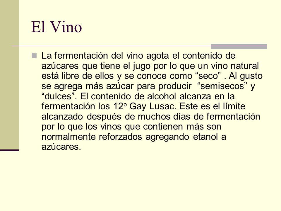 El Vino La fermentación del vino agota el contenido de azúcares que tiene el jugo por lo que un vino natural está libre de ellos y se conoce como seco