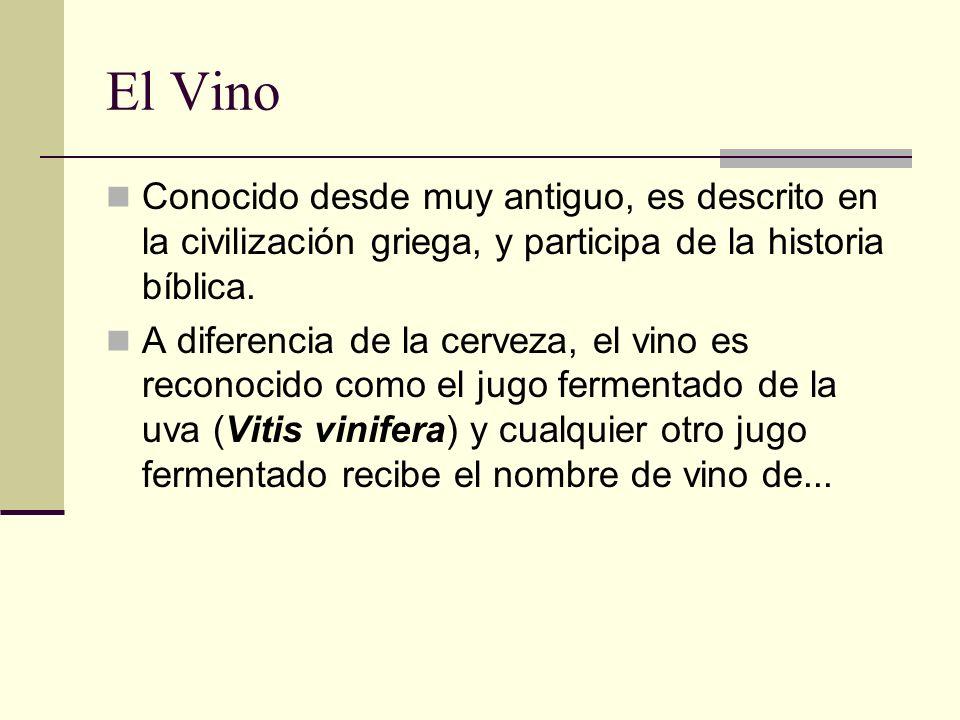 El Vino Conocido desde muy antiguo, es descrito en la civilización griega, y participa de la historia bíblica. A diferencia de la cerveza, el vino es