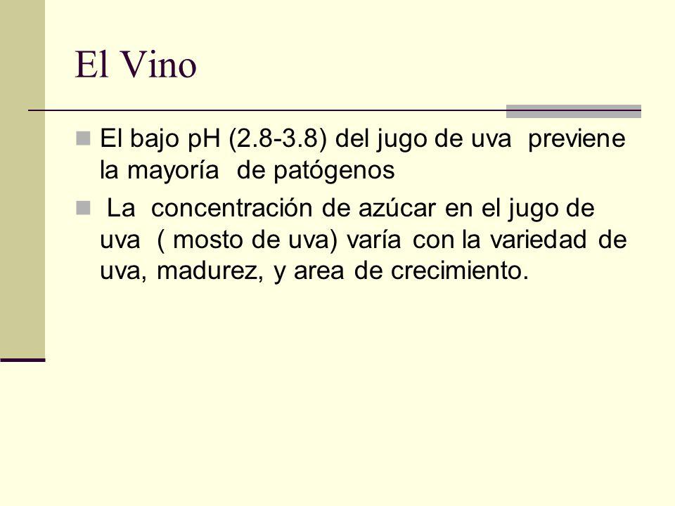 El Vino El bajo pH (2.8-3.8) del jugo de uva previene la mayoría de patógenos La concentración de azúcar en el jugo de uva ( mosto de uva) varía con l