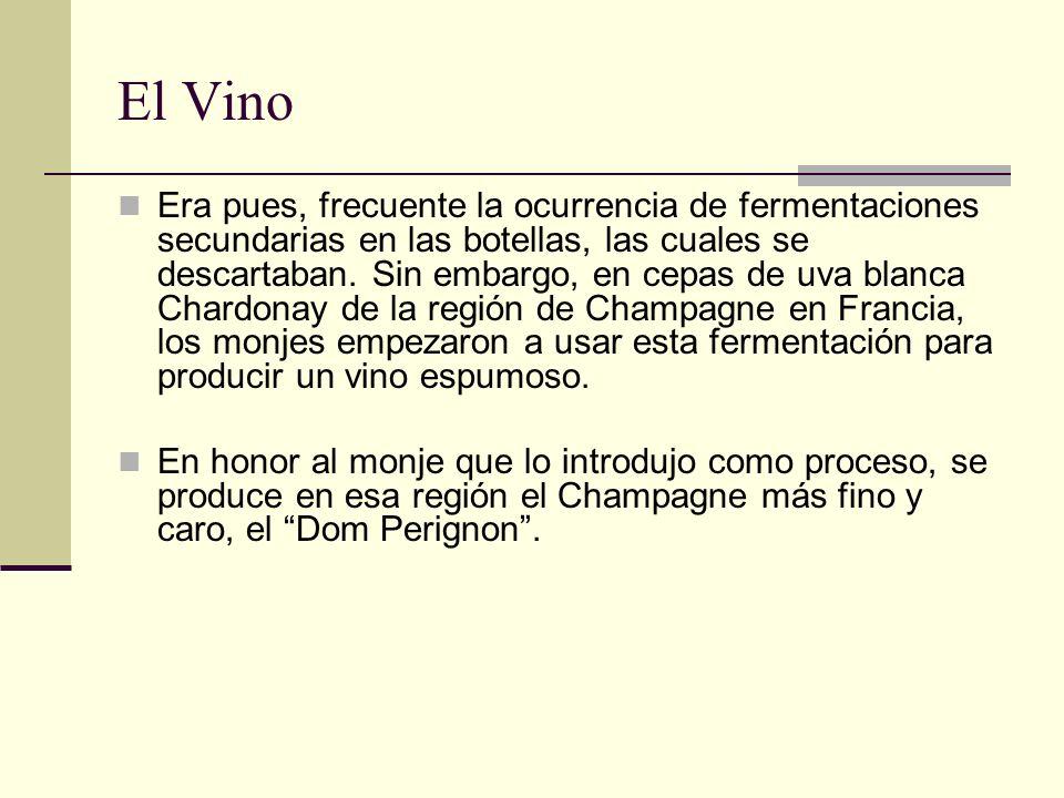 El Vino Era pues, frecuente la ocurrencia de fermentaciones secundarias en las botellas, las cuales se descartaban. Sin embargo, en cepas de uva blanc