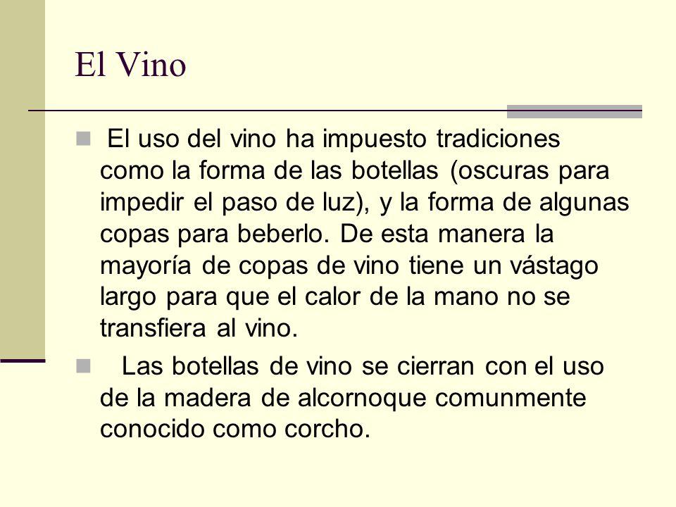 El Vino El uso del vino ha impuesto tradiciones como la forma de las botellas (oscuras para impedir el paso de luz), y la forma de algunas copas para