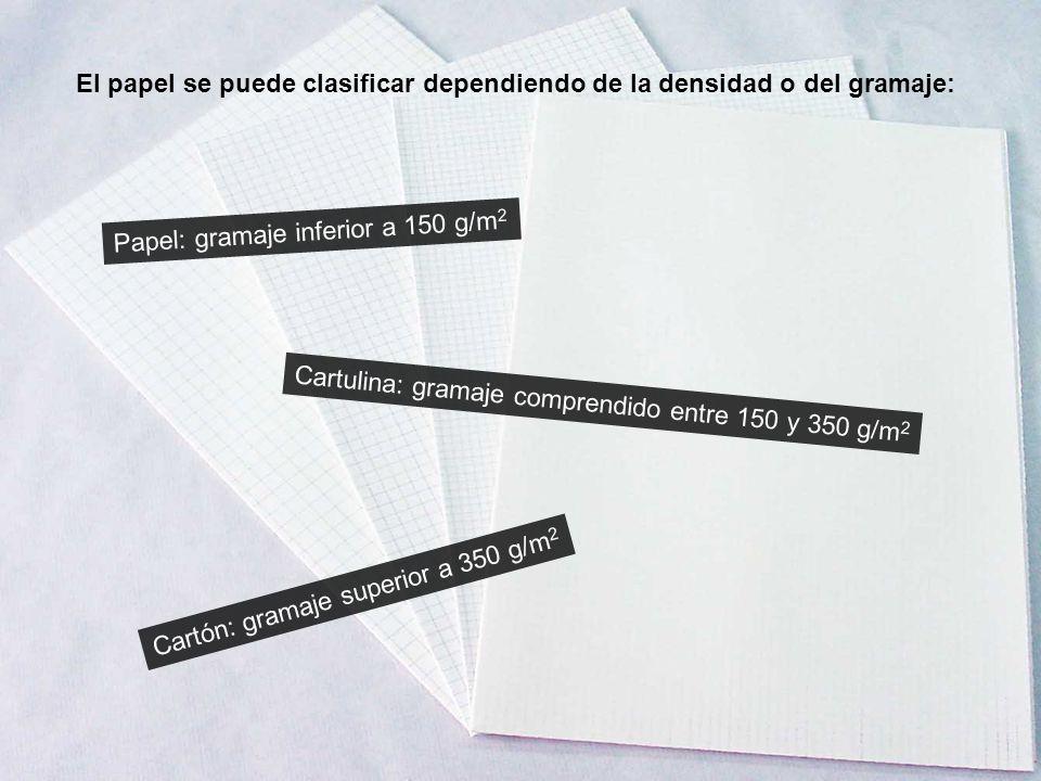 El papel se puede clasificar dependiendo de la densidad o del gramaje: Papel: gramaje inferior a 150 g/m 2 Cartulina: gramaje comprendido entre 150 y