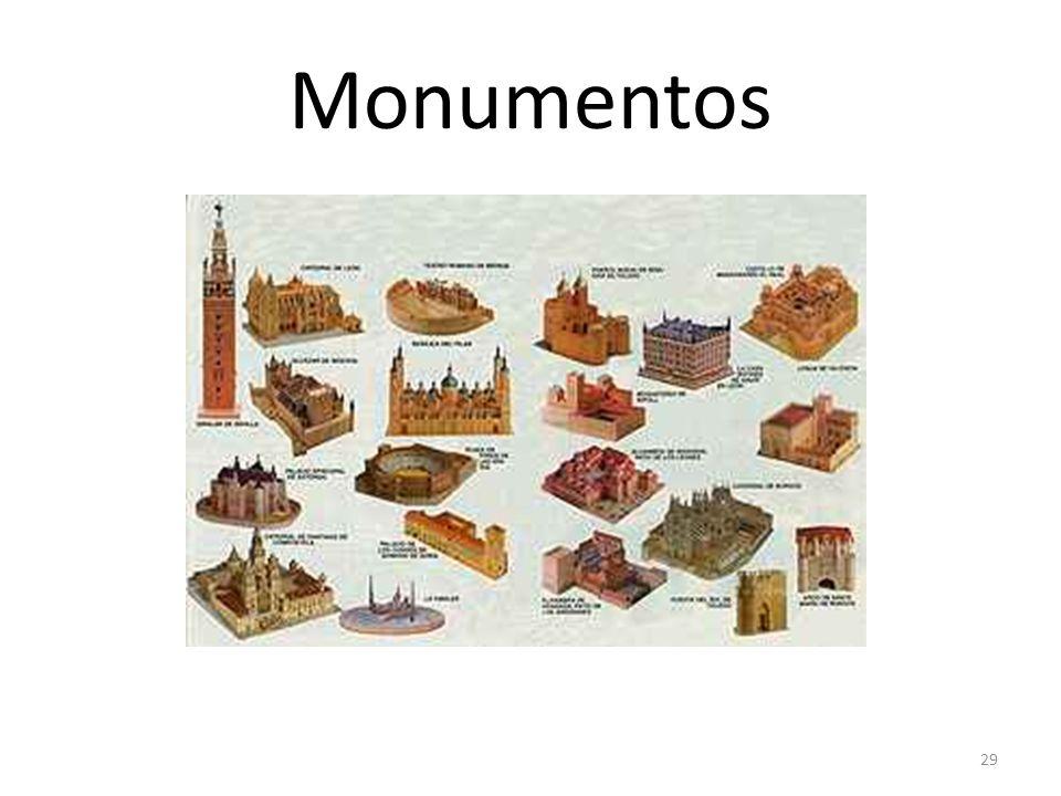 Monumentos OrigenLatín (monumentum) Ejemploahora visitaremos los monumentos de la ciudad UsoEn ciertas occaciones culturales; p.e. Al ver/visitar obra