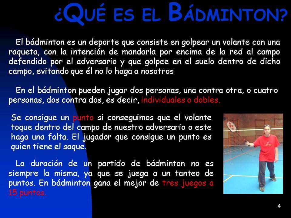 5 ¿ C ON Q UÉ SE J UEGA AL B ÁDMINTON.Al bádminton se juega con una Raqueta y un Volante.