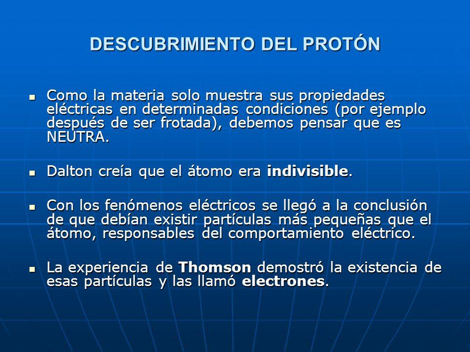 EXPERIENCIA DE THOMSON (año 1897) Tubos de descarga CONCLUSIÓN CONCLUSIÓN NOTA: Las partículas que se emitían eran las mismas siempre, cualquiera que