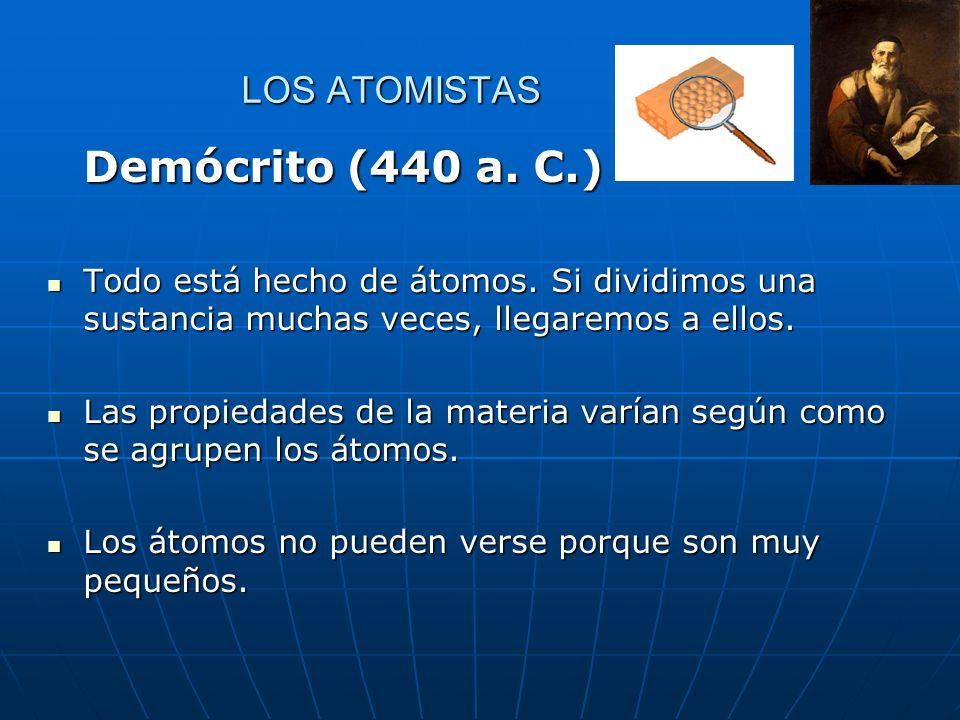 LOS ATOMISTAS Demócrito (440 a.C.) Todo está hecho de átomos.