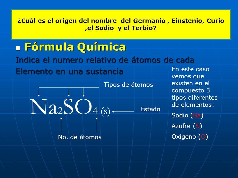 Símbolo de un elemento: Se utiliza para designar a un elemento que es diferente a otro, y en general representa el nombre del este en latín o en ingle