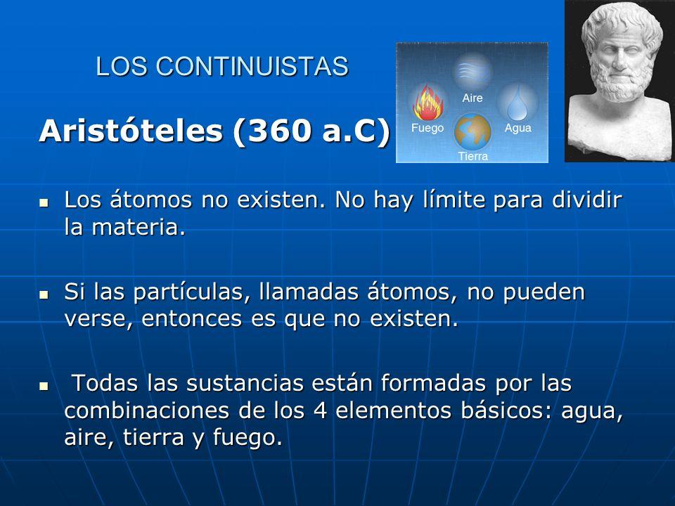 LOS CONTINUISTAS Aristóteles (360 a.C) Los átomos no existen.