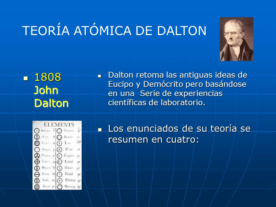 Dalton retoma las antiguas ideas de Eucipo y Demócrito pero basándose en una Serie de experiencias científicas de laboratorio.