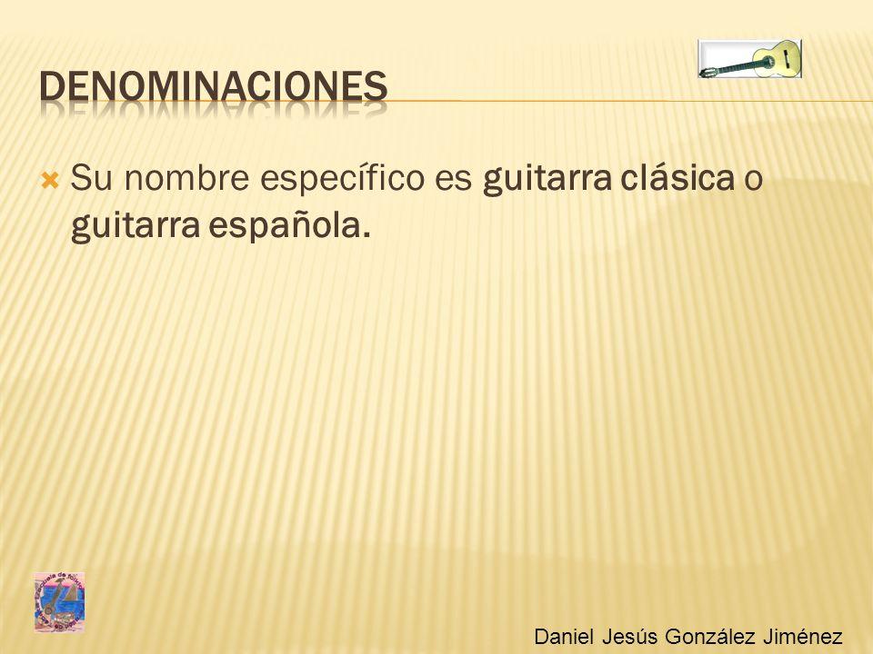 Su nombre específico es guitarra clásica o guitarra española. Daniel Jesús González Jiménez