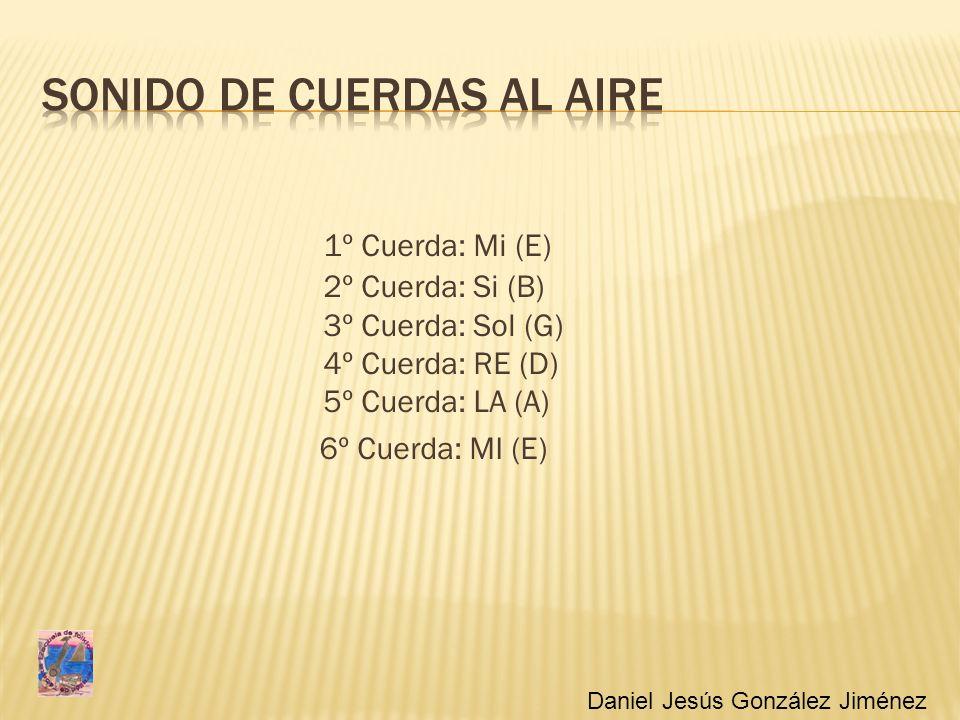 1º Cuerda: Mi (E) 2º Cuerda: Si (B) 3º Cuerda: Sol (G) 4º Cuerda: RE (D) 5º Cuerda: LA (A) 6º Cuerda: MI (E) Daniel Jesús González Jiménez