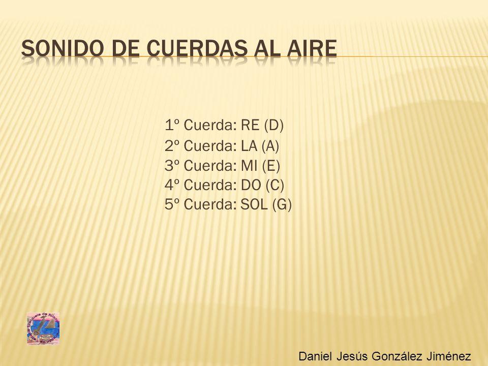 1º Cuerda: RE (D) 2º Cuerda: LA (A) 3º Cuerda: MI (E) 4º Cuerda: DO (C) 5º Cuerda: SOL (G) Daniel Jesús González Jiménez