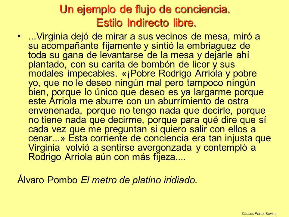 ©Jesús Pérez-Sevilla Un ejemplo de flujo de conciencia. Estilo Indirecto libre....Virginia dejó de mirar a sus vecinos de mesa, miró a su acompañante