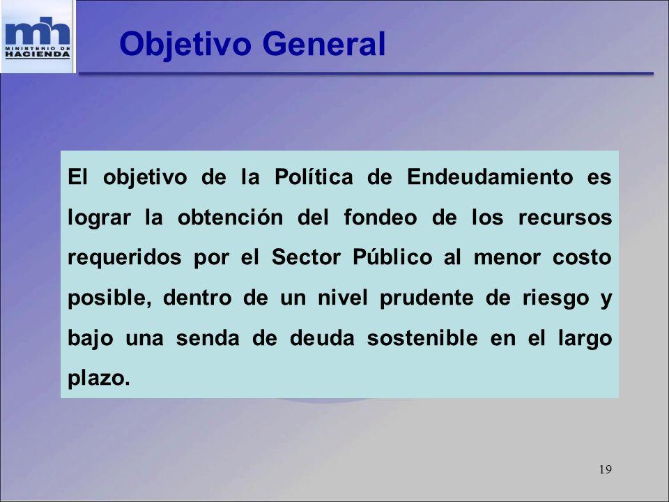 19 Objetivo General El objetivo de la Política de Endeudamiento es lograr la obtención del fondeo de los recursos requeridos por el Sector Público al menor costo posible, dentro de un nivel prudente de riesgo y bajo una senda de deuda sostenible en el largo plazo.