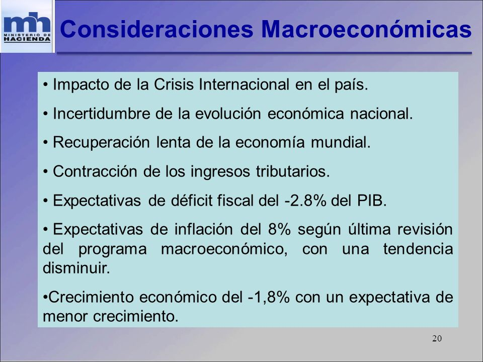 20 Consideraciones Macroeconómicas Impacto de la Crisis Internacional en el país. Incertidumbre de la evolución económica nacional. Recuperación lenta