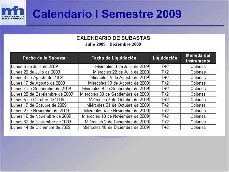 Calendario I Semestre 2009