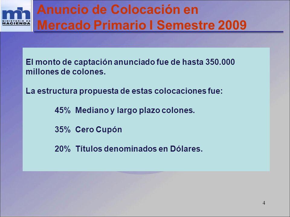 4 Anuncio de Colocación en Mercado Primario I Semestre 2009 El monto de captación anunciado fue de hasta 350.000 millones de colones. La estructura pr