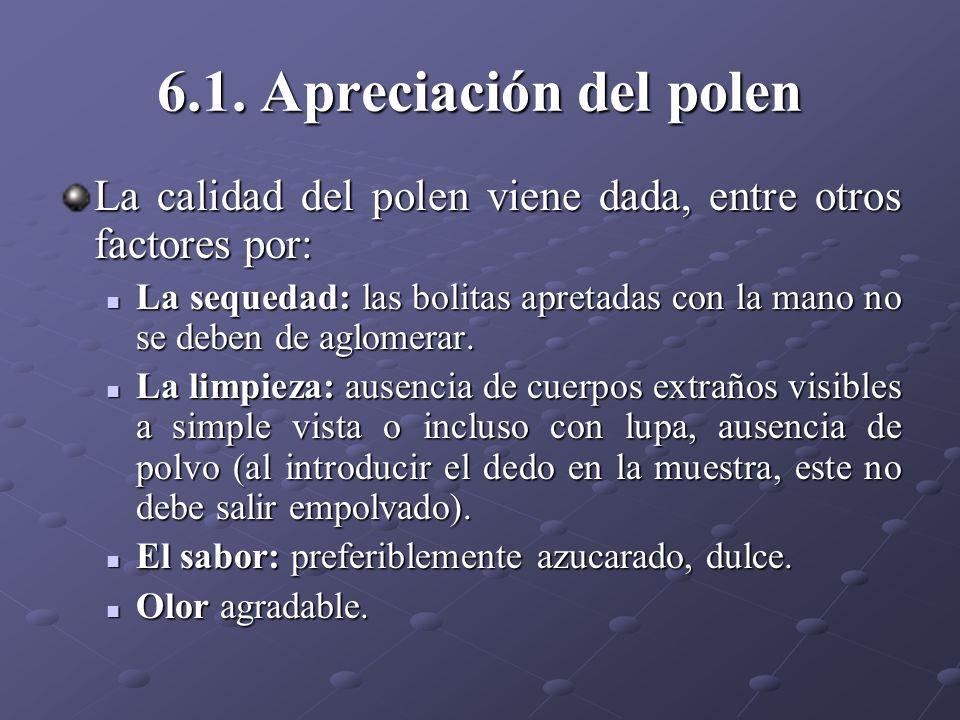 6.1. Apreciación del polen La calidad del polen viene dada, entre otros factores por: La sequedad: las bolitas apretadas con la mano no se deben de ag