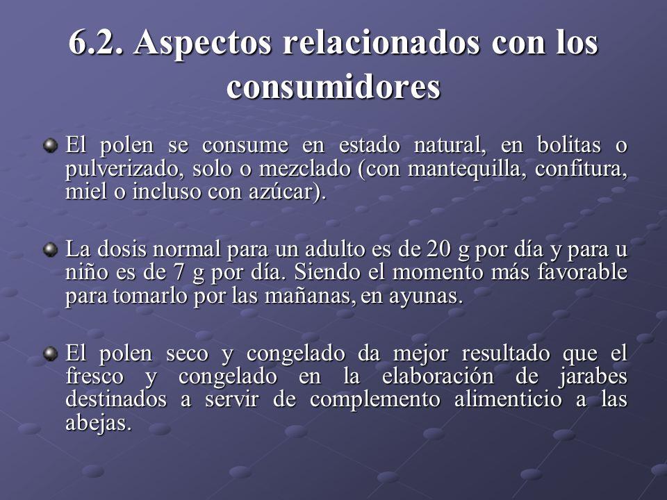 6.2. Aspectos relacionados con los consumidores El polen se consume en estado natural, en bolitas o pulverizado, solo o mezclado (con mantequilla, con