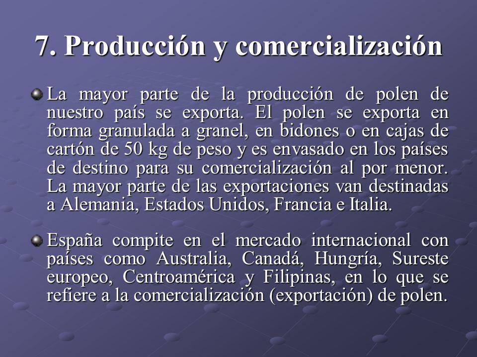 7. Producción y comercialización La mayor parte de la producción de polen de nuestro país se exporta. El polen se exporta en forma granulada a granel,