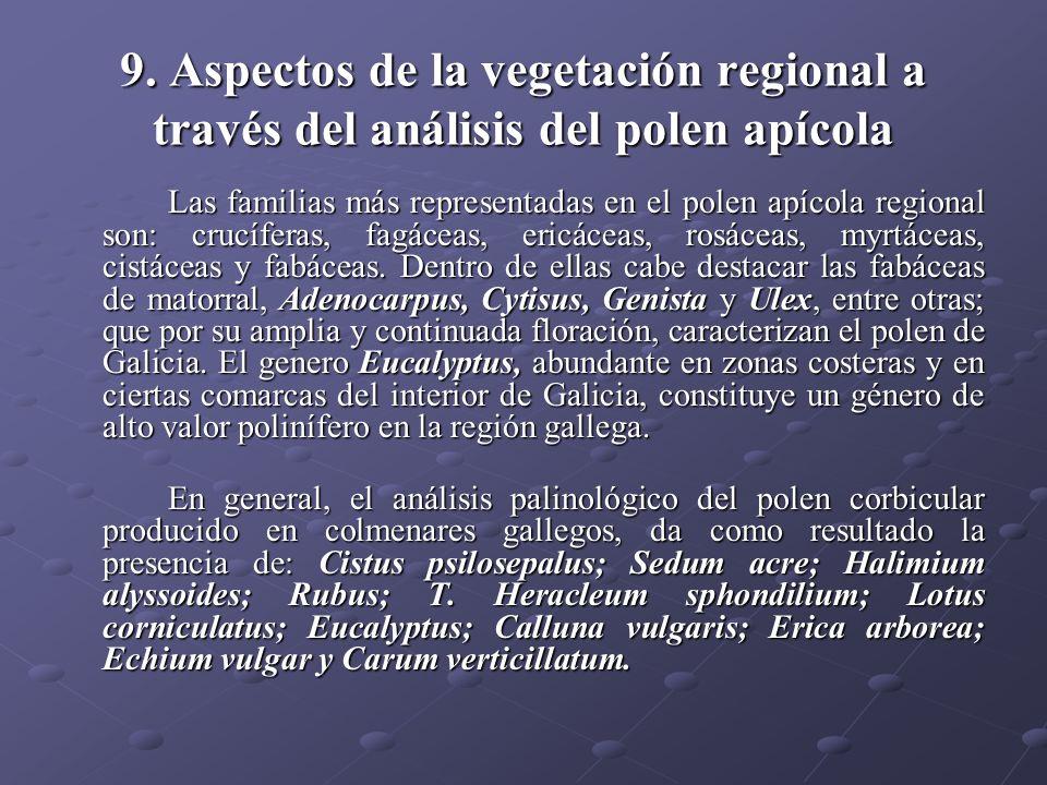 9. Aspectos de la vegetación regional a través del análisis del polen apícola Las familias más representadas en el polen apícola regional son: crucífe