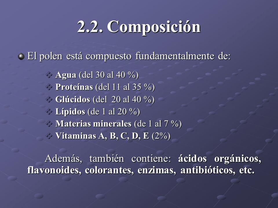 2.2. Composición El polen está compuesto fundamentalmente de: Agua (del 30 al 40 %) Agua (del 30 al 40 %) Proteínas (del 11 al 35 %) Proteínas (del 11