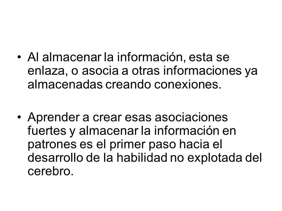 Al almacenar la información, esta se enlaza, o asocia a otras informaciones ya almacenadas creando conexiones. Aprender a crear esas asociaciones fuer