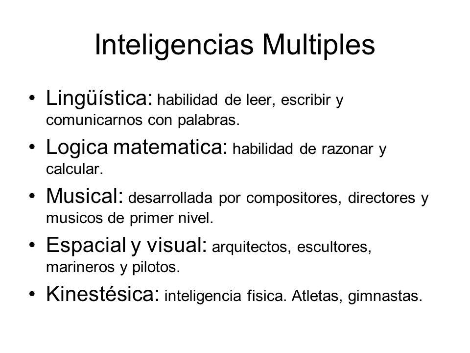 Inteligencias Multiples Lingüística: habilidad de leer, escribir y comunicarnos con palabras. Logica matematica: habilidad de razonar y calcular. Musi