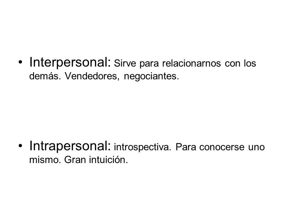 Interpersonal: Sirve para relacionarnos con los demás. Vendedores, negociantes. Intrapersonal: introspectiva. Para conocerse uno mismo. Gran intuición