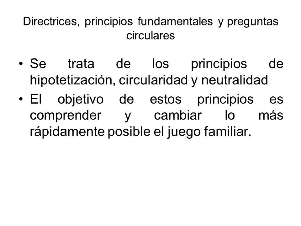 Directrices, principios fundamentales y preguntas circulares Se trata de los principios de hipotetización, circularidad y neutralidad El objetivo de e