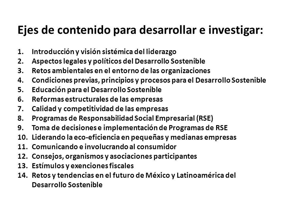 Ejes de contenido para desarrollar e investigar: 1.Introducción y visión sistémica del liderazgo 2.Aspectos legales y políticos del Desarrollo Sosteni