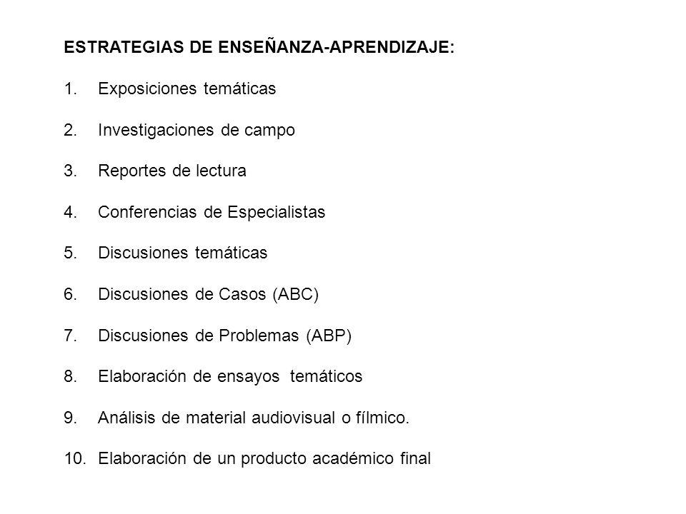 Criterios de evaluación: 1.Asistencia y participación en sesiones de clase 10% 2.Exposiciones temáticas (2) 20 % 3.Reportes de control de lectura (4) 20 % 4.Elaboración de un dossier que incluya: Síntesis de la temática revisada Posición ante las discusiones temáticas Posición ante las discusiones de casos Posición ante las discusiones de problemas Análisis del material audiovisual 20 % 5.Investigación de campo para elaborar el Producto Académico Final (reporte APA) 30 % Total 100 %