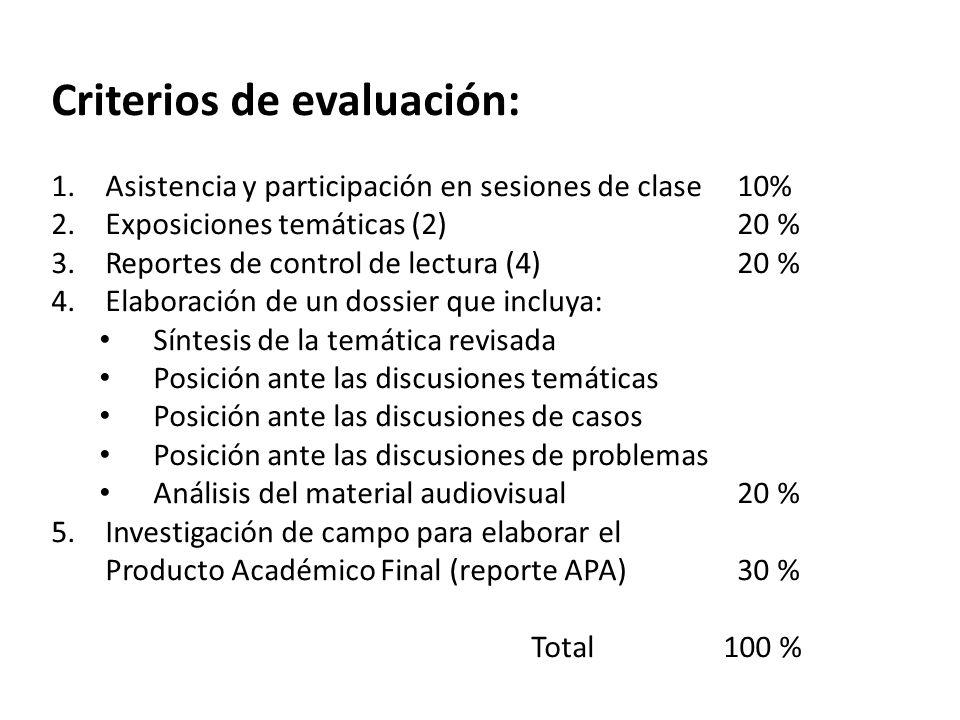 Criterios de evaluación: 1.Asistencia y participación en sesiones de clase 10% 2.Exposiciones temáticas (2) 20 % 3.Reportes de control de lectura (4)