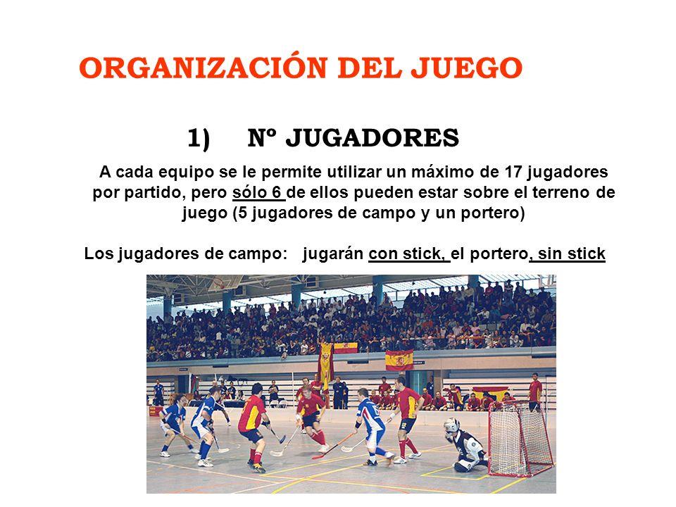 ORGANIZACIÓN DEL JUEGO 1)Nº JUGADORES A cada equipo se le permite utilizar un máximo de 17 jugadores por partido, pero sólo 6 de ellos pueden estar so