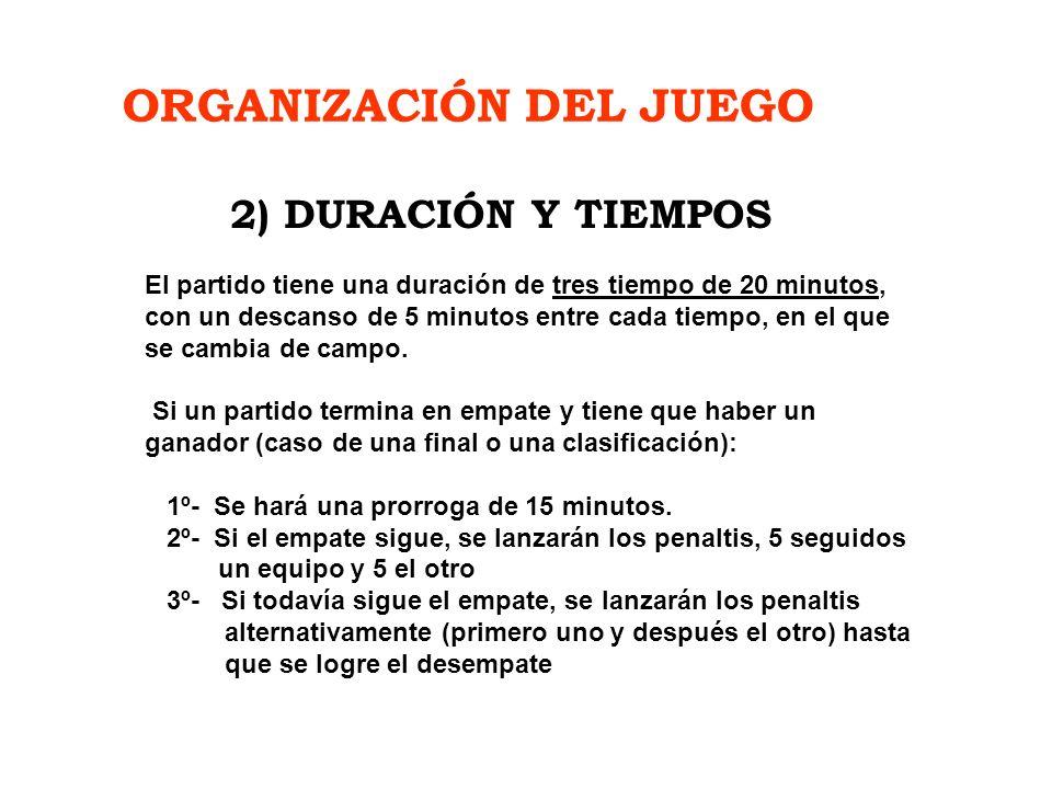 ORGANIZACIÓN DEL JUEGO El partido tiene una duración de tres tiempo de 20 minutos, con un descanso de 5 minutos entre cada tiempo, en el que se cambia