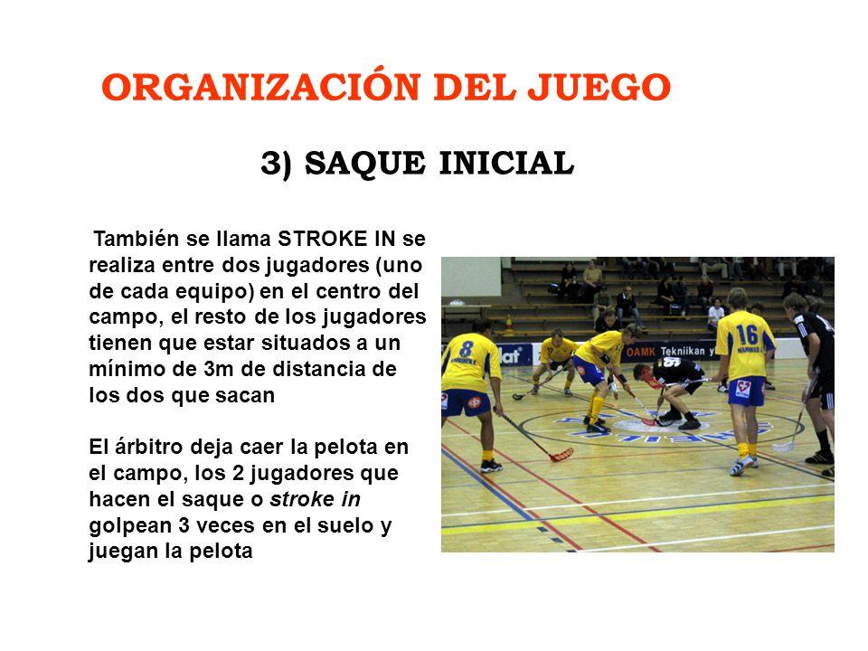 ORGANIZACIÓN DEL JUEGO También se llama STROKE IN se realiza entre dos jugadores (uno de cada equipo) en el centro del campo, el resto de los jugadore