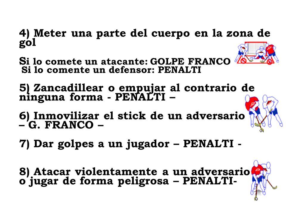 4) Meter una parte del cuerpo en la zona de gol S i lo comete un atacante: GOLPE FRANCO Si lo comente un defensor: PENALTI 5) Zancadillear o empujar a