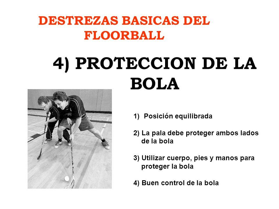 DESTREZAS BASICAS DEL FLOORBALL 4) PROTECCION DE LA BOLA 1)Posición equilibrada 2) La pala debe proteger ambos lados de la bola 3) Utilizar cuerpo, pi