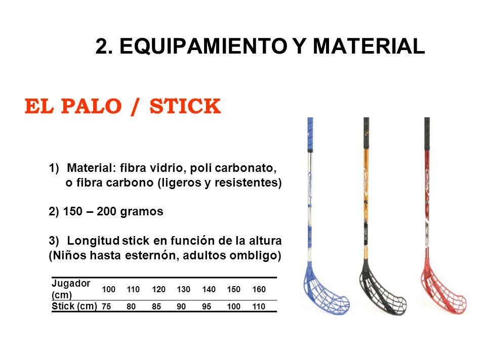 EL PALO / STICK 2. EQUIPAMIENTO Y MATERIAL 1)Material: fibra vidrio, poli carbonato, o fibra carbono (ligeros y resistentes) 2) 150 – 200 gramos 3)Lon